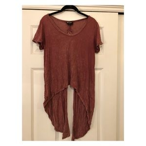 NastyGal Washed Out Red Split Back T-shirt
